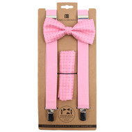 3pc Men's Pink Clip-on Suspenders, Pink Dotted Bow Tie and Hanky Sets FYBTHSUPK3