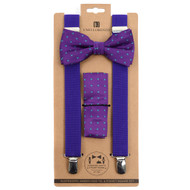 3pc Men's Purple Clip-on Suspenders, Flower Pattern Bow Tie & Hanky Sets FYBTHSUPUR3