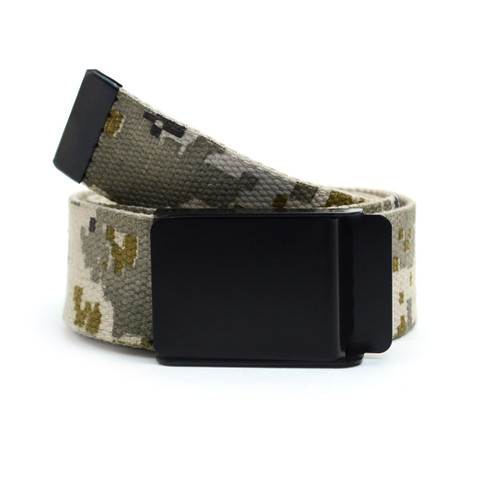12pc Size Assorted Men's Flip-To Buckle Military Camo Canvas Belt