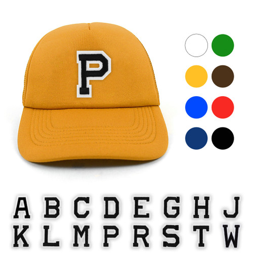 Varsity Letter Initials Foam Front Mesh Back Embroidery Patch Trucker Cap, Hat