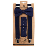 3pc Men's Navy Clip-on Suspenders, Dotted Bow Tie & Hanky Sets FYBTHSUNV5