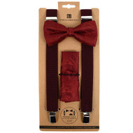 3pc Men's Burgundy Clip-on Suspenders, Paisley Bow Tie & Hanky Sets FYBTHSUBURG5
