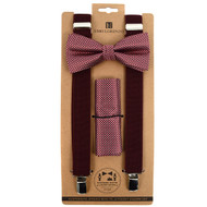 3pc Men's Burgundy Clip-on Suspenders, Dotted Bow Tie & Hanky Sets FYBTHSUBURG6