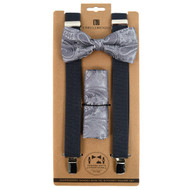 3pc Men's Grey Clip-on Suspenders, Paisley Bow Tie & Hanky Sets FYBTHSUGRY5