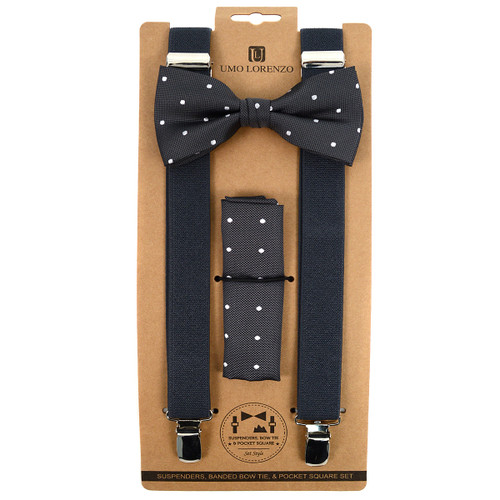 3pc Men's Grey Clip-on Suspenders, Dotted Bow Tie & Hanky Sets FYBTHSUGRY8