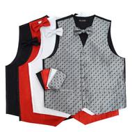 12pc Random Assorted Prepack Men's Poly Woven Vest, Hanky and Bowtie Sets BTHVASST
