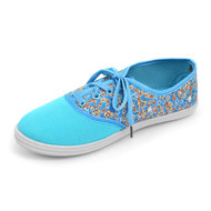 12pcs Women's Blue Floral Canvas Flat Casual Shoes Sneakers SH1100-BLUE