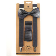 3pc Men's Charcoal Clip-on Suspenders, Plaid Bow Tie & Hanky Sets FYBTHSU-GRY6