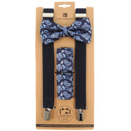 3pc Men's Navy Clip-on Suspenders, Paisley Bow Tie & Hanky Sets FYBTHSU-NV4