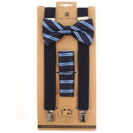 3pc Men's Navy Clip-on Suspenders, Striped Bow Tie & Hanky Sets FYBTHSU-NV6