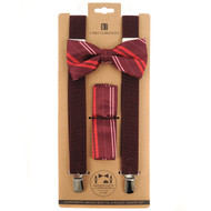 3pc Men's Burgundy Clip-on Suspenders, Double Striped Bow Tie & Hanky Sets FYBTHSU-BURG4