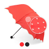12pc Pack Telescopic Canopy Hand Open Umbrella with Hearts Pattern & Wavy Border UM1701