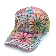 """Star"" Bling Studs Flower Baseball Cap, Hat CFP10185"
