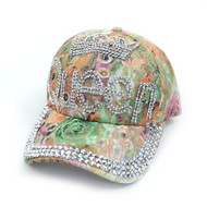 """Queen"" Bling Studs Green Flower Baseball Cap, Hat CFP9581G"