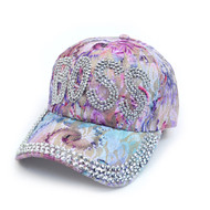 """Boss"" Bling Studs Lavender/Purple Flower Baseball Cap, Hat CFP9590L"