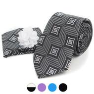 Geometric Pattern Tie, Hanky & Lapel Pin Box Set THLB07034M