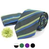 Striped Pattern Tie, Hanky & Lapel Pin Box Set THLB07077M