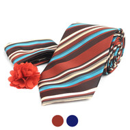 Striped Pattern Tie, Hanky & Lapel Pin Box Set THLB07047M
