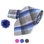 Plaid Tie, Matching Hanky & Lapel Pin Box Set THLB07054M