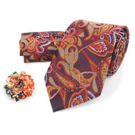 Paisley Pattern Tie, Hanky & Multi Colored Lapel Pin Box Set THLB07065