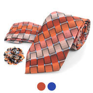Striped Geometric Pattern Tie, Hanky & Multi Colored Lapel Pin Set THLB07069M