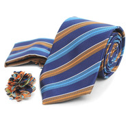 Striped Pattern Tie, Matching Hanky & Multi Colored Lapel Pin Set THLB07059