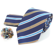 Striped Pattern Tie, Matching Hanky & Multi Colored Lapel Pin Set THLB07055
