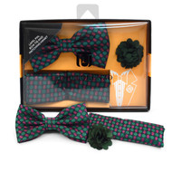 Dotted Banded Bow Tie, Matching Hanky & Olive Lapel Pin Set BTHLB07066
