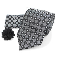 Dotted Geometric Tie, Matching Hanky & Lapel Pin Box Set THLB07041
