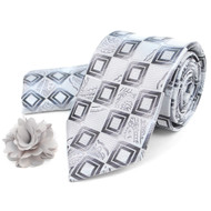 Geometric Paisley Pattern Tie, Matching Hanky & Lapel Pin Set THLB07039