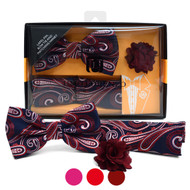 Paisley Pattern Banded Bow Tie, Matching Hanky & Lapel Pin Set BTHLB07035M