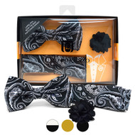 Paisley Pattern Banded Bow Tie, Matching Hanky & Lapel Pin Set BTHLB07025M
