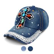 """Cross"" Bling Studs Denim Baseball Cap CP9612"