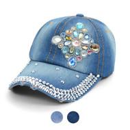 """Diamond Emblem"" Bling Studs Denim Baseball Cap CP9611"