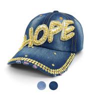 """HOPE"" Bling Studs Denim Baseball Cap CP9601"