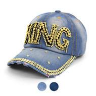 """KING "" Bling Studs Denim Baseball Cap CP9603"