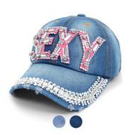 """SEXY"" Bling Studs Denim Baseball Cap CP9610"
