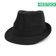 Fall/Winter Solid Black Westend Fedora Hat H10332N