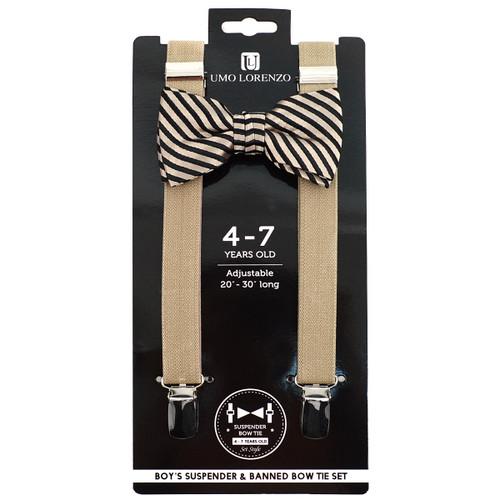 Boy's Khaki Clip-on Suspender & Striped Bow Tie Set(4~7 Years)