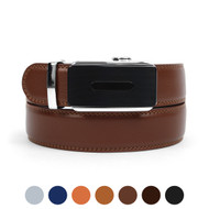 Men's Genuine Leather Sliding Buckle Ratchet Belt MGLBB29