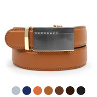 Men's Genuine Leather Sliding Buckle Ratchet Belt MGLBB38