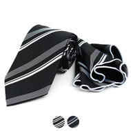 Striped Tie & Matching Pocket Round Set MPWTH170332