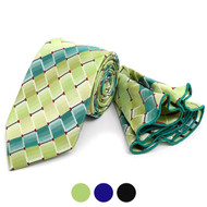 Striped Geometric Pattern Tie & Matching Pocket Round Set MPWTH170330