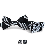 Striped Banded Bow Tie & Matching Hanky Pocket Round Set BTH170332