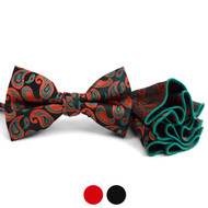 Paisley Pattern Banded Bow Tie & Matching Hanky Pocket Round Set BTH170334
