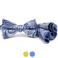 Paisley Pattern Banded Bow Tie & Matching Hanky Pocket Round Set BTH170335