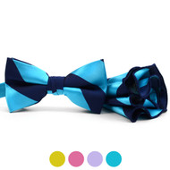 Striped Banded Bow Tie & Matching Hanky Pocket Round Set BTH170337