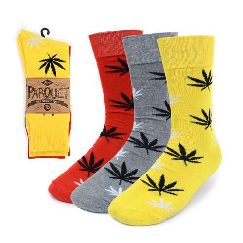Assorted Pack (3 Pairs) Men's Cannabis Pattern Crew Socks 3PKS-MC/MH1