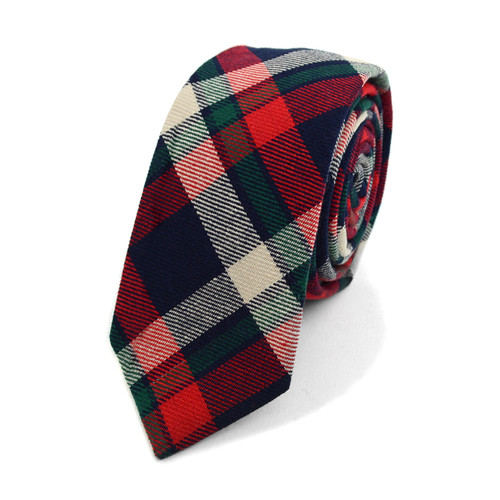 "Men's Plaid Flannel 2.25"" Cotton Slim Tie - MPPW1638"