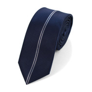 "Navy Microfiber Poly Woven 2.25"" Slim Panel Tie MPPW1615"